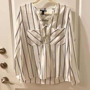 F21 white top with criss cross front